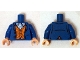 Part No: 973pb1889c01  Name: Torso LotR Coat with Orange Vest with Buttons and White and Light Blue Scarf Pattern (Bilbo Baggins) / Blue Arms / Light Flesh Hands