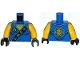 Part No: 973pb1907c01  Name: Torso Ninjago Robe with Gold Asian Characters on Black Sash and Jay Power Emblem Pattern / Yellow Arms / Black Hands