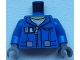 Part No: 973pb2034c01  Name: Torso Flight Suit Jacket with Zipper and Minifigure ID Badge Pattern / Blue Arms / Dark Bluish Gray Hands
