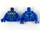 Part No: 973pb3277c01  Name: Torso Gold Eye and Circuitry, Red Iris, Dark Azure Highlights, Black Muscle Lines Pattern / Blue Arms / Blue Hands