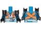 Part No: 973pb3292c01  Name: Torso SW Jumpsiut, Orange Crossed Belts and Front Panel Pattern (Rio Durant) / Dark Blue Double Arms / Black Hands