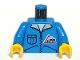 Part No: 973px122c01  Name: Torso Town Bulldozer Logo, Zipper Jacket, Pocket Pattern (Lorry Driver) / Blue Arms / Yellow Hands