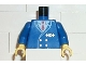 Part No: 973px1c01  Name: Torso Train Suit, Red Tie, Gold Buttons and Logo Pattern / Blue Arms / Yellow Hands