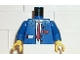 Part No: 973px32c01  Name: Torso Train Suit Open, Notepad, Red Long Tie and Logo Pattern / Blue Arms / Yellow Hands