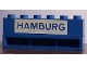 Part No: crssprt02pb74  Name: Brick 1 x 6 without Bottom Tubes with Cross Side Supports with Blue in White 'HAMBURG' Pattern