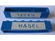 Part No: crssprt02pb75  Name: Brick 1 x 6 without Bottom Tubes with Cross Side Supports with Blue in White 'BASEL' Pattern