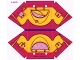 Part No: 25651  Name: Plastic Tent with Dark Purple Ridge Line and Bright Light Orange Friends Flap and Butterfly Pattern