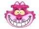 Part No: 26026pb01  Name: Minifig, Head Modified Cheshire Cat with Wide Grin, Bright Light Pink Muzzle, and Yellow Eyes Pattern
