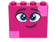 Part No: 49311pb03  Name: Brick 1 x 4 x 3 with Twinkling Dark Azure Eyes, Eyebrows, Smile and Dark Pink Squares on Two Corners Pattern (Queen Watevra Wa'Nabi Face)