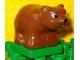 Part No: 2334c02pb02  Name: Duplo Bear Cub First Version on Green Base