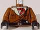 Part No: 973px183c01  Name: Torso Adventurers Orient Jacket Fur Lining, Bandana, Gun Belt, Pockets Pattern / Brown Arms / Black Hands