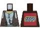 Part No: 973px190a  Name: Torso Adventurers Desert Vest over White Shirt, Slingshot Pattern - LEGO Logo on Back