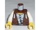 Part No: 973px190c01  Name: Torso Adventurers Desert Vest over White Shirt, Slingshot Pattern / White Arms / Yellow Hands