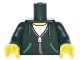 Part No: 973pb2789c01  Name: Torso Hoodie with Green Ties and Pockets, Silver Zipper over White Shirt Pattern / Dark Green Arms with Green Cuffs Pattern / Yellow Hands
