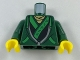 Part No: 973pb2851c01  Name: Torso Hoodie with Bright Green Ties and Trim over Ninjago Robe with Asian Characters Pattern / Dark Green Arms / Yellow Hands