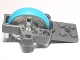 Part No: 11125c01  Name: Fly Wheel Plate 2 x 8 with Metal Fly Wheel and Dark Azure Tire, Complete Assembly (Chima Rip Cord Base)