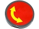 Part No: 14769pb043  Name: Tile, Round 2 x 2 with Bottom Stud Holder with Yellow Curved Arrow Double on Red Background Pattern (Sticker)