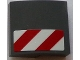 Part No: 15068pb019R  Name: Slope, Curved 2 x 2 No Studs with Red and White Danger Stripes Pattern Model Right Side (Sticker) - Set 60073