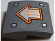Part No: 15068pb126  Name: Slope, Curved 2 x 2 No Studs with Orange Circuitry in Silver Arrow Pattern (Sticker) - Set 70317