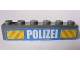 Part No: 3009pb178  Name: Brick 1 x 6 with White 'POLIZEI' Bold Narrow Font and Yellow Diagonal Stripes on Blue Pattern (Sticker) - Set 7743