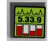 Part No: 30258pb047  Name: Road Sign Clip-on 2 x 2 Square with Black '5.33.9' and Red Level Indicators Pattern (Sticker) - Set 8864