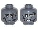 Part No: 3626cpb1796  Name: Minifigure, Head Dual Sided Alien PotC Black Cracks, Light Bluish Gray Spots and Lips, Neutral / Bared Teeth Angry Pattern - Hollow Stud