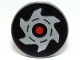 Part No: 4150pb147  Name: Tile, Round 2 x 2 with Red Circle and Silver Saw Blade on Black Background Pattern
