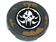 Part No: 4150pb164  Name: Tile, Round 2 x 2 with Dark Tan Spatters and Alien Skull in Black Circle Pattern (Sticker) - Set 70141