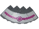 Part No: 95188pb20  Name: Brick, Round Corner 6 x 6 with Slope 33 Edge, Facet Cutout with Magenta Circles and Stripe, Black Lines and Rivets Pattern (Sticker) - Set 79121