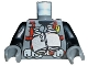 Part No: 973pb0180c01  Name: Torso Dino Vest with Red Harness and Silver Binoculars Pattern / Black Arms / Dark Bluish Gray Hands