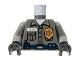 Part No: 973pb0277c02  Name: Torso Security Guard, Gold Badge, Blue Belt w/Radio Pattern / Dark Bluish Gray Arms / Black Hands