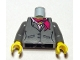 Part No: 973pb0639c01  Name: Torso Suit Jacket, Two Buttons, Pink Shirt and Magenta Scarf Pattern/ Dark Bluish Gray Arms / Yellow Hands