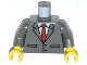 Part No: 973pb1614c01  Name: Torso Suit Jacket Buttoned with Red Tie Pattern / Dark Bluish Gray Arms / Yellow Hands