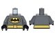 Part No: 973pb2275c01  Name: Torso Batman Logo in Yellow Oval with Yellow Belt Front and Back Pattern / Dark Bluish Gray Arms / Black Hands