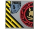 Part No: 10202pb007L  Name: Tile 6 x 6 with Bottom Tubes with Samurai Helmet and Swords in Red and Black Circle Left Half and Arrow Pattern (Sticker) - Set 70596