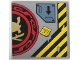 Part No: 10202pb007R  Name: Tile 6 x 6 with Bottom Tubes with Samurai Helmet and Swords in Red and Black Circle Right Half, Arrow and 'FINISH JET!' Pattern (Sticker) - Set 70596