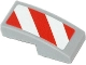 Part No: 11477pb004L  Name: Slope, Curved 2 x 1 No Studs with Red and White Danger Stripes (Red Corners) Pattern Model Left Side (Sticker)