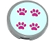 Part No: 14769pb037  Name: Tile, Round 2 x 2 with Bottom Stud Holder with 4 Paw Prints on Light Aqua Background Pattern (Sticker) - Set 41085