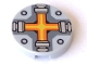 Part No: 14769pb087  Name: Tile, Round 2 x 2 with Bottom Stud Holder with Orange and Yellow Cross Pattern