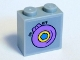 Part No: 22885pb001  Name: Brick, Modified 1 x 2 x 1 2/3 with Studs on 1 Side with Dark Azure Flower in Yellow and Lavender Circle and 'ON OFF' Pattern (Sticker) - Set 41346