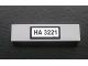 Part No: 2431pb098  Name: Tile 1 x 4 with Black 'HA 3221' Pattern on White Background (Sticker) - Set 3221