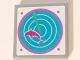 Part No: 3068bpb0996  Name: Tile 2 x 2 with Dark Pink Dolphin on Medium Azure Radar Pattern (Sticker) - Set 41015
