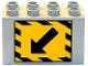 Part No: 31111pb024  Name: Duplo, Brick 2 x 4 x 2 with Black Diagonal Arrow and Black Stripe Border on Yellow (Detour) Pattern