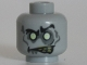 Part No: 3626cpb0766  Name: Minifigure, Head Alien with White Eyes and Yellowed Teeth, Angry Pattern (Zombie Groom) - Hollow Stud