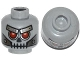 Part No: 3626cpb1084  Name: Minifig, Head Alien Skull with Red Eyes, Metal Eyebrows with Rivets and Metal Jaw with Screws Pattern - Stud Recessed