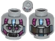 Part No: 3626cpb1107  Name: Minifig, Head Alien with Robot Magenta Eyes, Silver Mouth, Medium Blue Line and Metal Plates Pattern - Stud Recessed