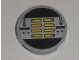 Part No: 4150pb050  Name: Tile, Round 2 x 2 with Yellow, Black, and Silver Machinery Pattern (Sticker) - Set 8971