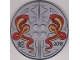 Part No: 6177pb012  Name: Tile, Round 8 x 8 with 2 Snakes, Asian Characters and '2013' Pattern