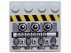 Part No: 6179pb112L  Name: Tile, Modified 4 x 4 with Studs on Edge with Engine and Black and Yellow Danger Stripes Pattern Model Left (Sticker) - Set 7666