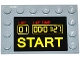 Part No: 6180pb079  Name: Tile, Modified 4 x 6 with Studs on Edges with Digital Clock, Counter, and 'LAP', 'LAP TIME' and 'START' Pattern (Sticker) - Set 75912